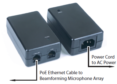 PoE Power Supply & Cables Kit for Clear One Beamforming Microphone Array