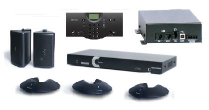 Clear One INTERACT AT Conferencing System - Three Pod / Wireless Controller / Wireless Receiver / Wall Mount Speaker System