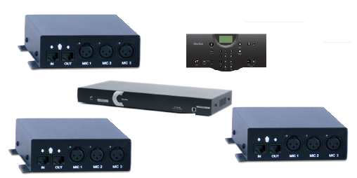 Clear One INTERACT AT Conferencing System  - Three 3-Input Mic Box / Wired Controller