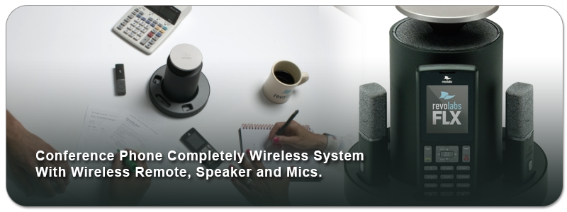 Conference Phone  Completely Wireless System With Wireless Remote, Speaker and Mics
